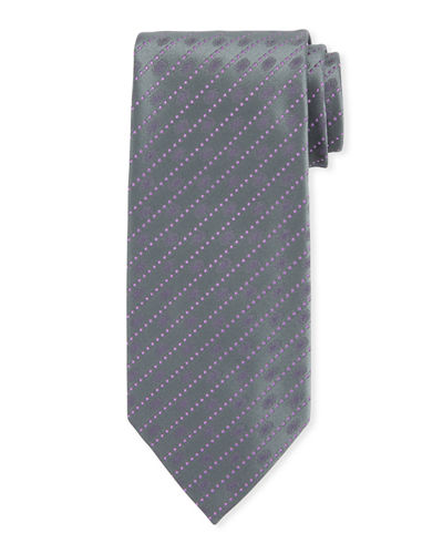 Dotted Striped Silk Tie