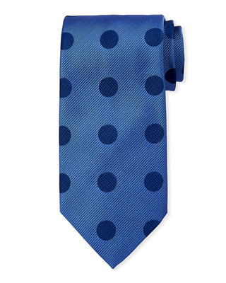Charvet Large Polka-Dot Silk Tie