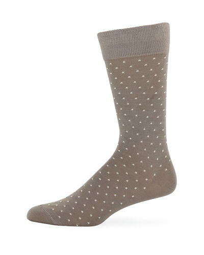 Men's Pin Dot Cotton-Blend Socks