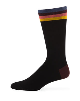Paul Smith Men's Artist Striped-Trim Cotton-Blend Socks