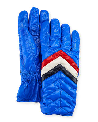 Men'S Guanti Quilted Gloves, Blue