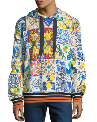 Dolce & Gabbana Men's Maiolica Tile-Print Pullover Hoodie