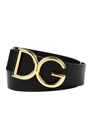 Dolce & Gabbana Men's Leather Belt w/ Logo Buckle