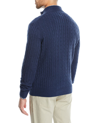 Men's Crown Cable-Knit Half-Zip Sweater