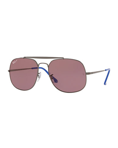 Ray-Ban The General Men's Polarized Aviator Sunglasses