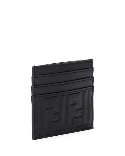 Men's FF Embossed Leather Card Case