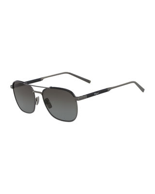 Salvatore Ferragamo Men's Metal Polarized Navigator Sunglasses