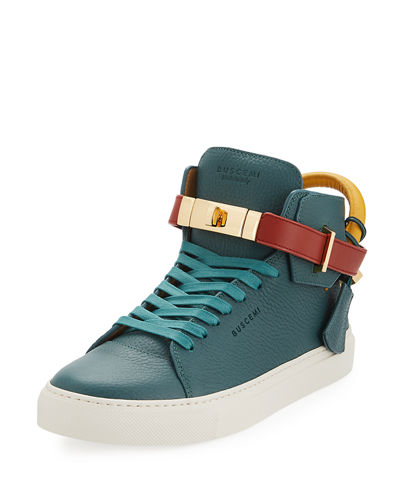 Men's 100mm Tricolor Leather Mid-Top Sneakers