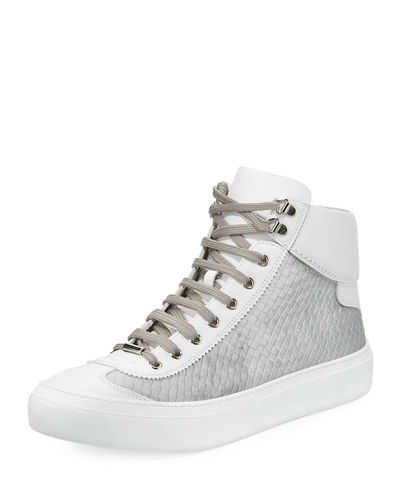 Men's Velvet & Leather High-Top Sneaker
