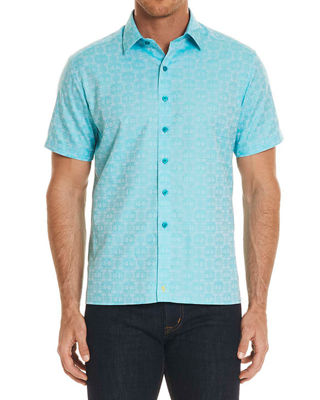 Robert Graham Cullen Squared Short-Sleeve Sport Shirt