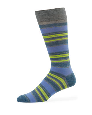 Neiman Marcus Striped Cotton-Blend Socks