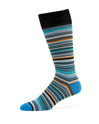 Neiman Marcus Multi-Striped Cotton-Blend Socks