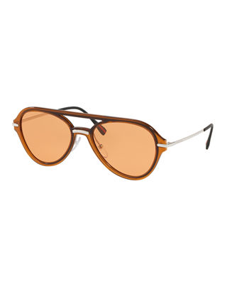 Prada Men's Plastic Solid Aviator Sunglasses