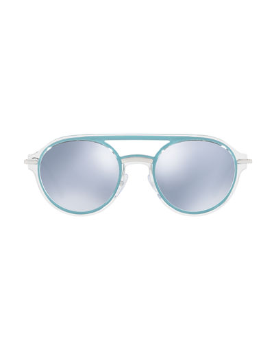 Men's Round Mirrored Plastic Brow-Bar Sunglasses