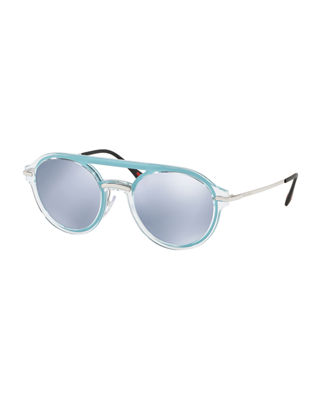 Prada Men's Round Mirrored Plastic Brow-Bar Sunglasses