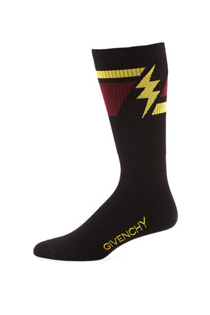 Givenchy Men's Geometric Lightning Bolt Socks