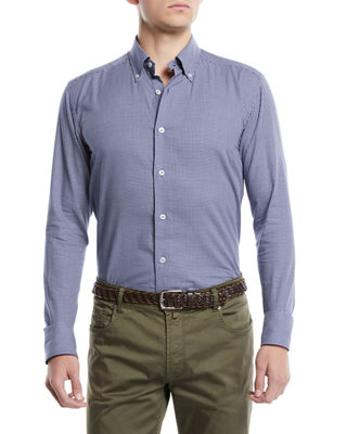 Landini Camiceria Men's Micro-Plaid Sport Shirt