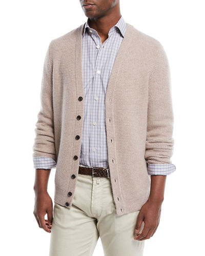 Men's Cashmere Solid Waffle-Knit Cardigan Sweater