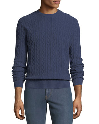 Neiman Marcus Mens Cashmere Cable Knit Crewneck Pullover Sweater In