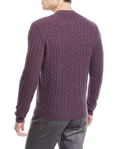 Neiman Marcus Men's Cashmere Cable-Knit Crewneck Pullover Sweater