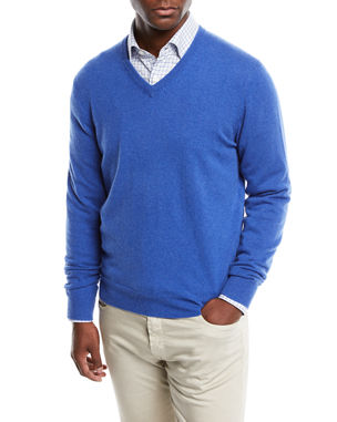 6f892d59662 Neiman Marcus Men s Cloud Cashmere V-Neck Sweater