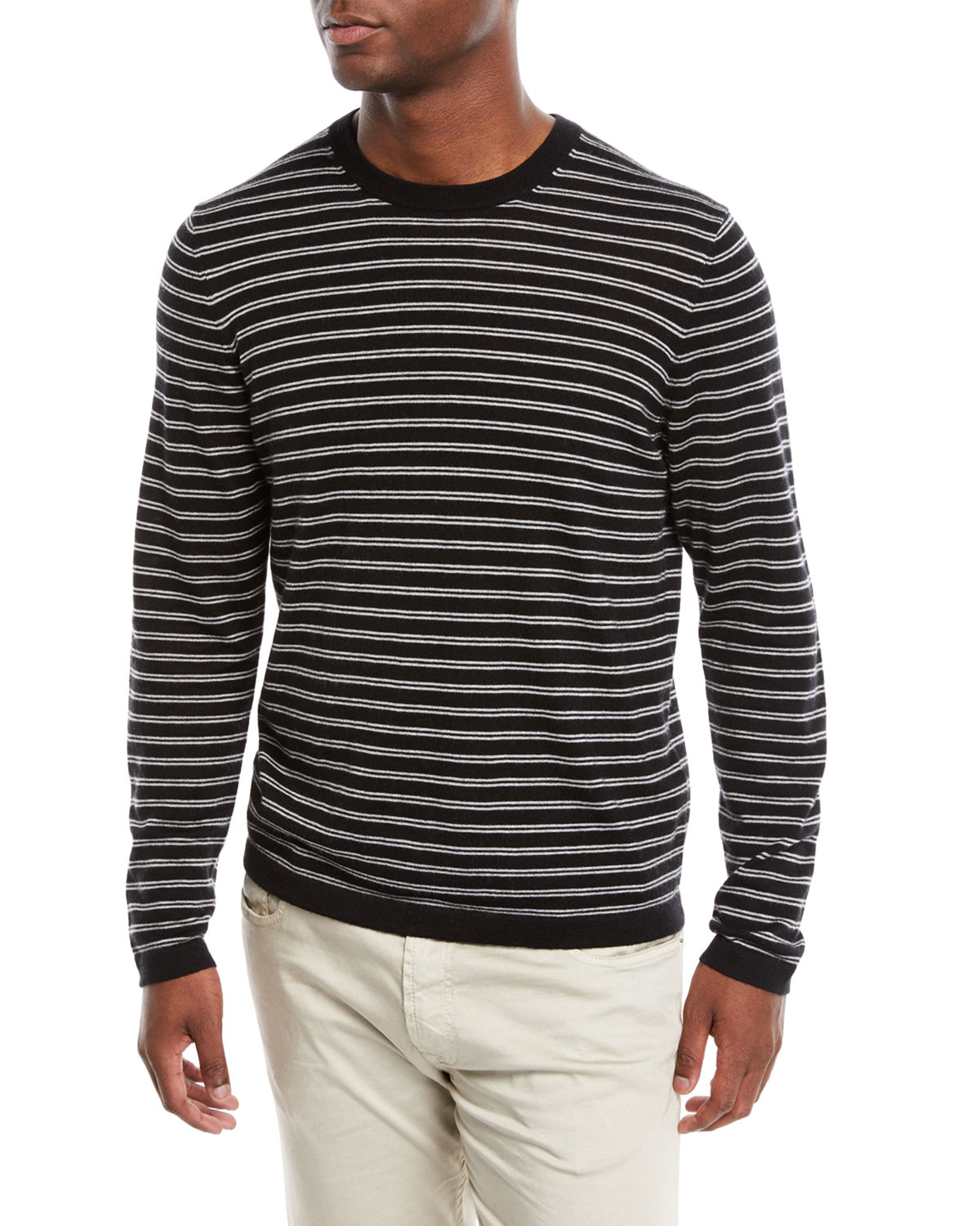 7ab8f91c844 Neiman Marcus Men's Cashmere-Silk Striped Long-Sleeve T-Shirt ...