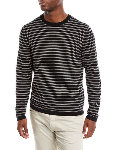 Men's Cashmere-Silk Striped Long-Sleeve T-Shirt