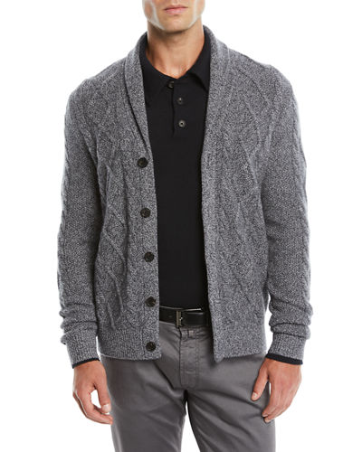 Men's Textured Cable-Knit Shawl-Collar Cashmere Cardigan