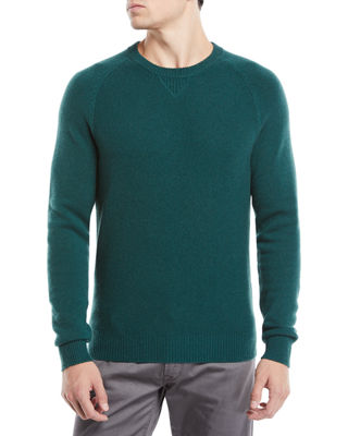 Neiman Marcus Men's Tuck-Stitch Cashmere Crewneck Sweater