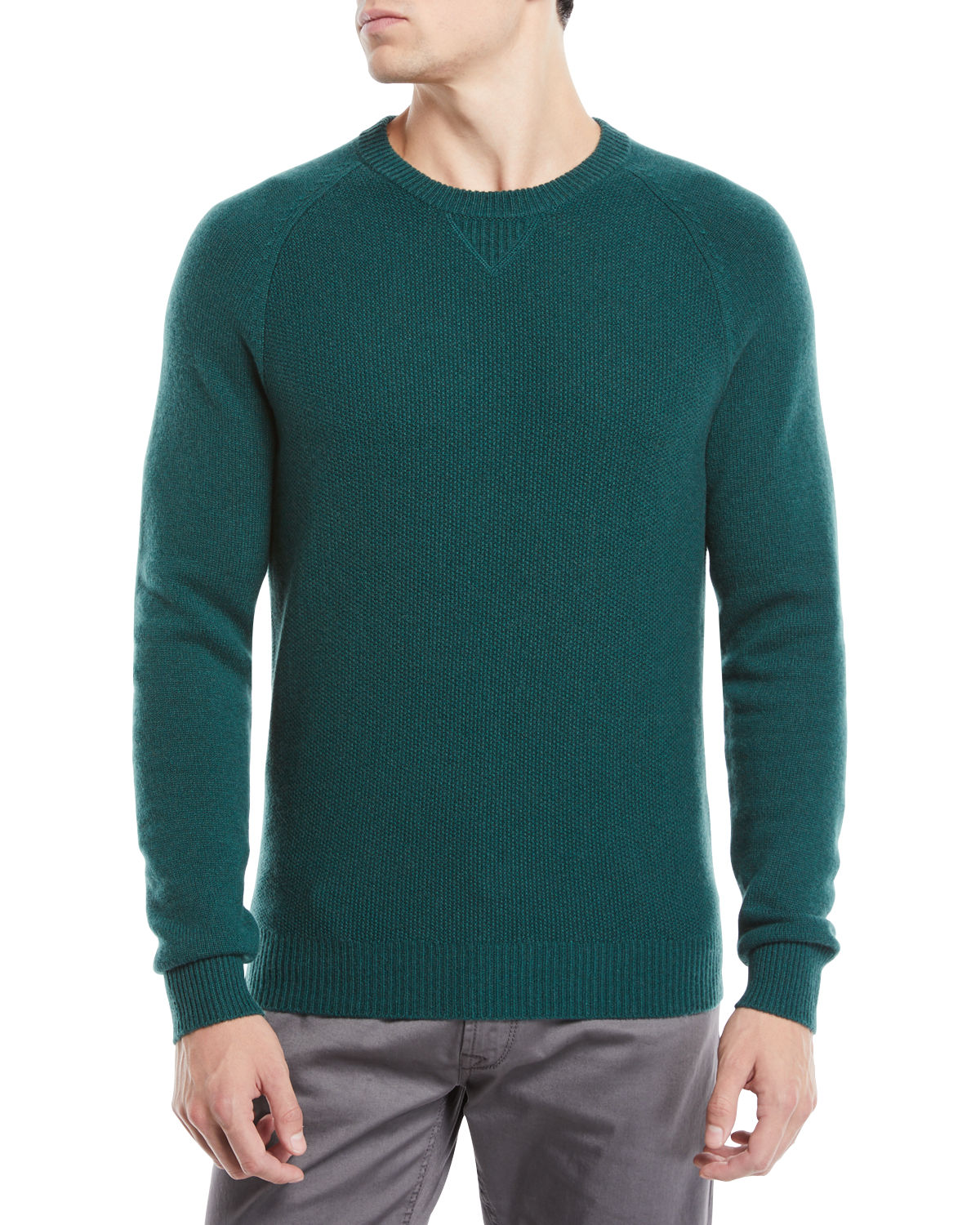 Men's Tuck-Stitch Cashmere Crewneck Sweater