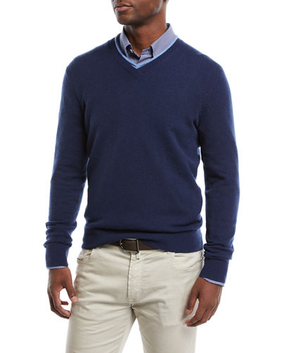 Men's Cashmere Contrast-Trim Sweater