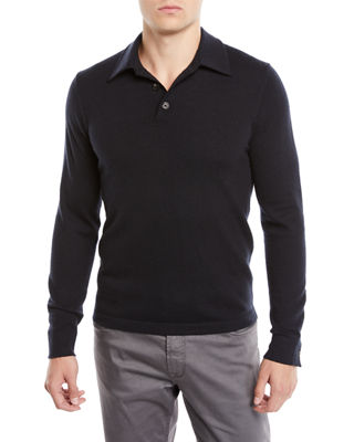 Neiman Marcus Men's Cashmere Long-Sleeve Polo Sweater