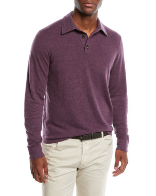 bdc9a55ed147 Neiman Marcus Men s Cashmere Long-Sleeve Polo Sweater