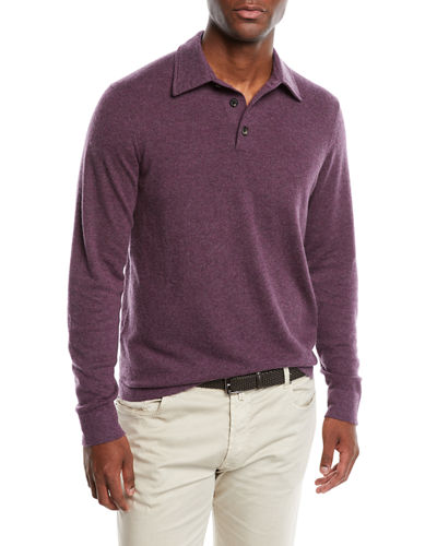 Men's Cashmere Long-Sleeve Polo Sweater