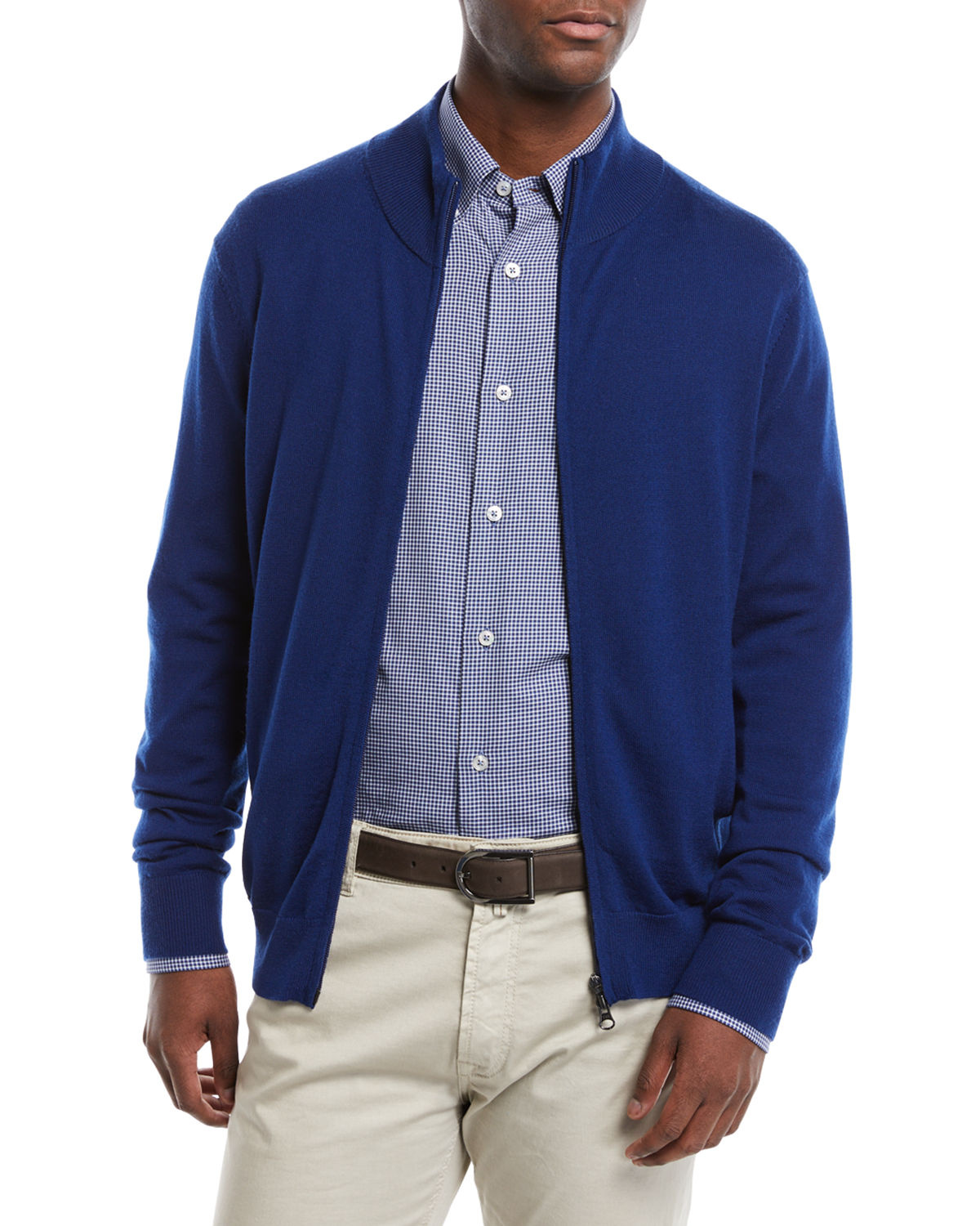 Men's Casual Merino Wool Zip-Front Cardigan Sweater