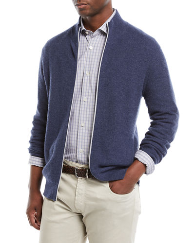 Men's Zip-Front Cashmere Sweater