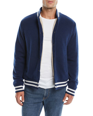 Neiman Marcus Cashmere Collection Men's Cashmere Baseball Jacket