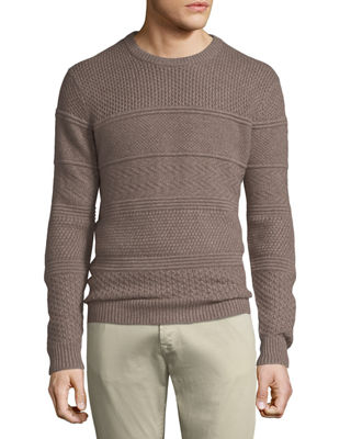 Neiman Marcus Cashmere Collection Men's Crewneck Textured Paneled