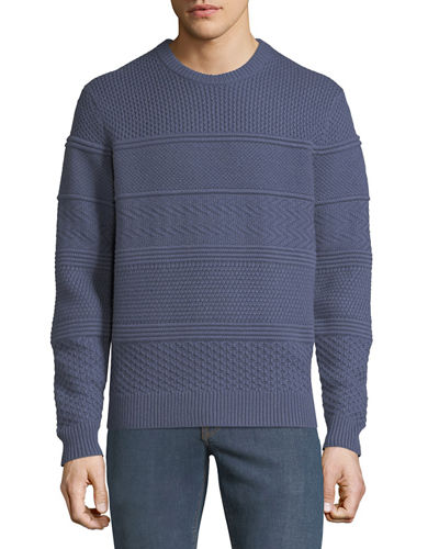 Men's Crewneck Textured Paneled Pullover Cashmere Sweater