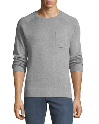 Men's Crewneck Raglan Pocket Organic Cotton Pullover Sweater