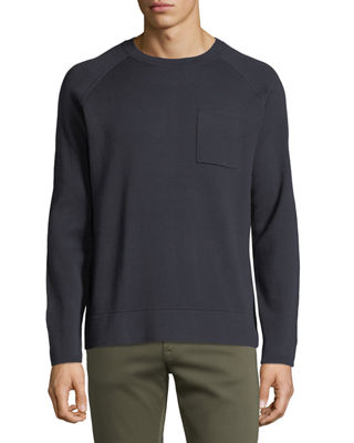 Neiman Marcus Men's Crewneck Raglan Pocket Organic Cotton