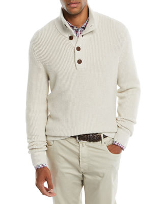 Neiman Marcus Men's Collared Organic Cotton Pullover Sweater