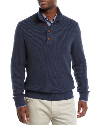 JOYMAX MEN'S COLLARED ORGANIC COTTON PULLOVER SWEATER