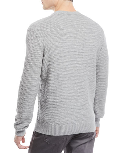 Men's Tuck-Stitch Organic Cotton Crewneck Sweater