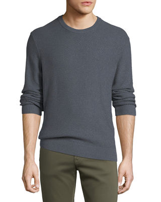 JOYMAX MEN'S TUCK-STITCH COTTON CREWNECK SWEATER