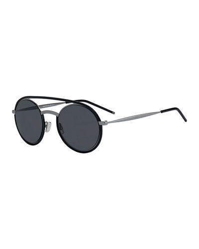 e8262af2bb Quick Look. Dior · Men s Synte Round Metal Sunglasses with Double Bridge