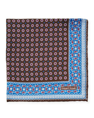 EDWARD ARMAH Men'S Floral-Paisley Silk Pocket Square in Brown