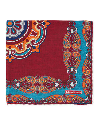 EDWARD ARMAH Scarf-Print Pocket Square in Red