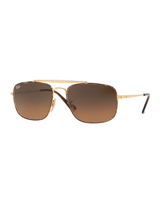 Ray-Ban Men's The Colonel 58mm Square Metal Aviator