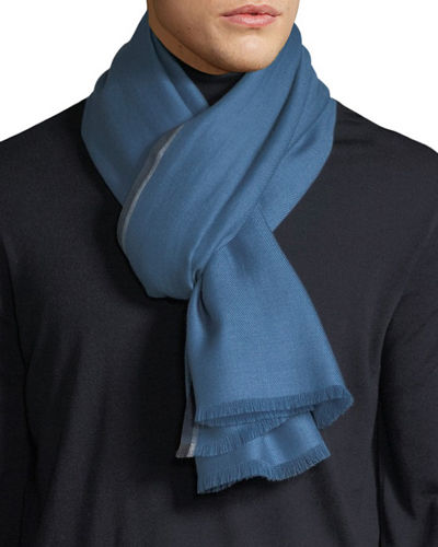 Ermenegildo Zegna Men's Solid Cashmere Scarf with Contrast Trim
